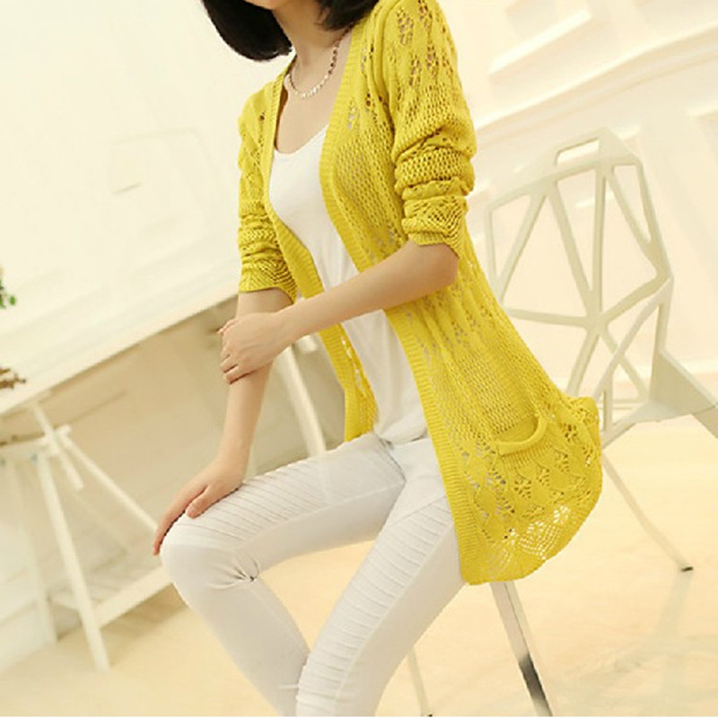 新款韩版修身中长款女装针织衫开衫镂空薄夏装口袋外套3元优惠券