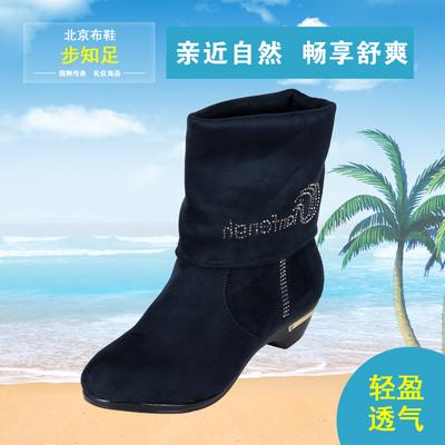 老北京布鞋女靴中跟长筒女靴子加厚二穿冬季中筒女棉靴特大码4142
