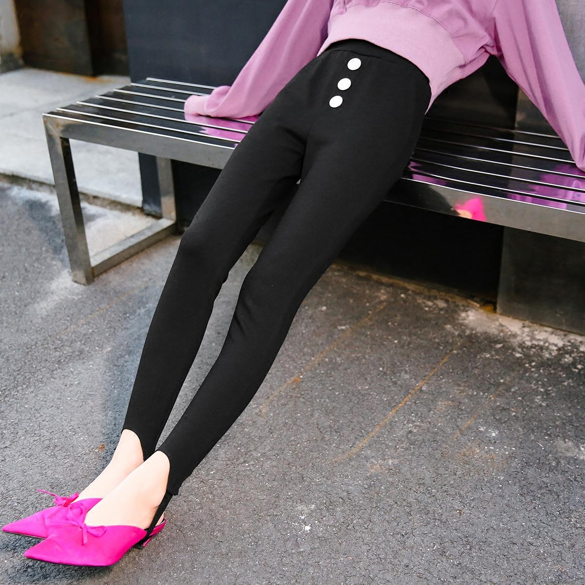七格格外穿打底裤铅笔裤子女生春韩高腰黑色chic踩脚休闲裤小脚裤