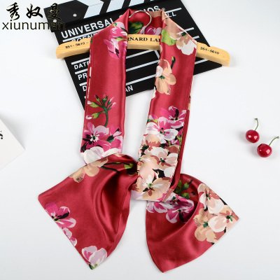 新款小丝巾女士春季韩版商务领带巾领结长款双面印花围巾缎面纱巾