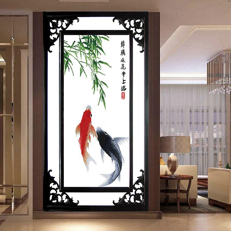 竹子简约现代清新挂画 竖款 印花十字绣年年有余鱼客厅餐厅大幅新款