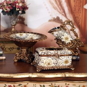 欧式居家饰品创意 客厅工艺品玫瑰雕花果盘纸巾盒烟灰缸套装摆件