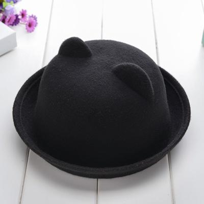 秋冬天可爱猫耳朵亲子礼帽韩版小熊遮阳帽毛呢帽男女儿童保暖帽子