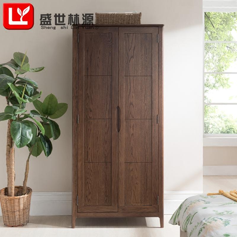 盛世林源纯实木大衣柜两门四门衣柜红橡木储存柜日式置物柜家具