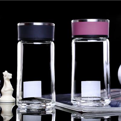 万象玻璃杯 单层透明水晶杯 时尚创意便携带盖水杯男女士泡茶杯子