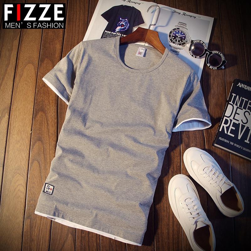夏季男士短袖T恤圆领纯色体恤打底衫韩版修身半袖上衣服潮男装薄