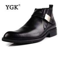 YGK专柜正品 时尚英伦高帮尖头搭扣男鞋高帮皮鞋商务牛皮男鞋0346