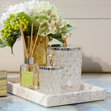 饰品 美式北欧样板间高档金属不锈钢鹿头玻璃器皿储物罐摆件软装