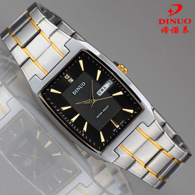 正品DINUO谛诺手表 男士长方形双历腕表 防水超薄石英表 新款男表