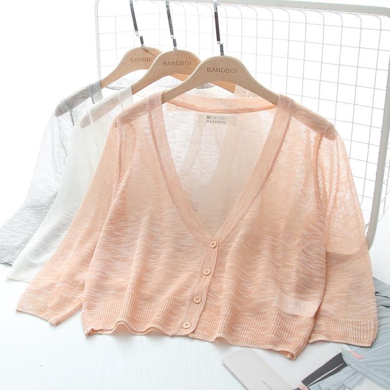 夏季短款薄款外搭冰丝针织衫小披肩外套防晒开衫外披女夏薄空调衫