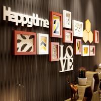 欧锋现代欧式实木照片墙相框墙客厅卧室相片墙创意组合挂墙love