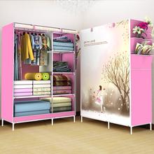 简约现代折叠衣橱宿舍组装 收纳经济型 简易布艺衣柜钢管加粗加固