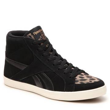 美国直邮Reebok/锐步 334948帆布鞋豹纹舒适系带高帮休闲鞋女鞋