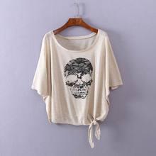 新款 欧美风宽松胖MM大码 学院风印花休闲显瘦上衣罩衫 T恤夏装 时尚