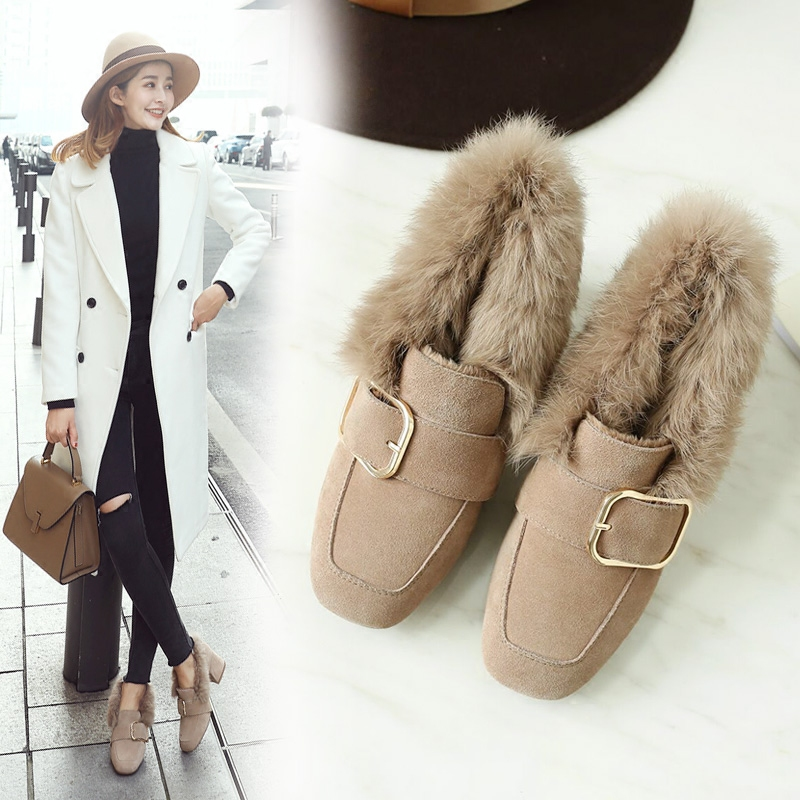 冬季女鞋高跟毛