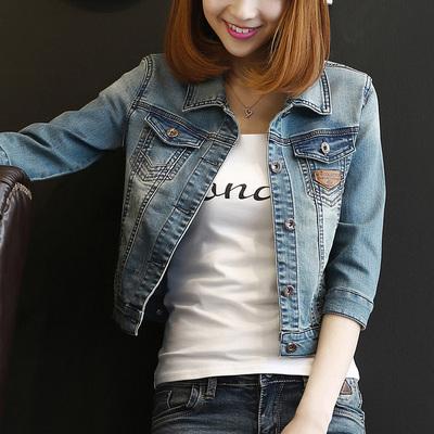 牛仔外套女短款修身韩版潮显瘦学生七分长袖春秋牛仔服上衣弹力S2