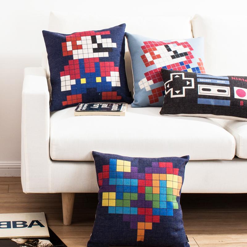 像素玛丽奥 卡通动漫游戏可爱清新文艺棉麻沙发靠垫抱枕车用靠枕1元优惠券