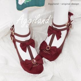 【现货】阿积家Aggiland 原创lolita辰绒~拼色内防圆头单鞋