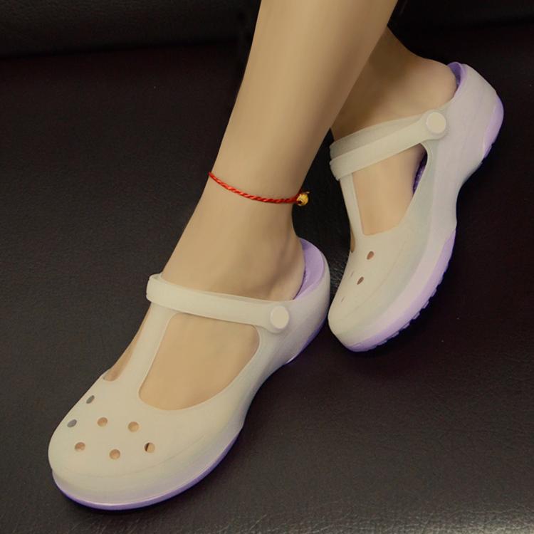 变色果冻洞洞鞋舒适软底厚底中跟包头夏季百搭女鞋沙滩鞋拖鞋凉鞋