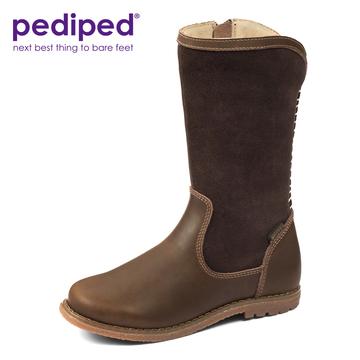 pediped派迪派  4-12岁 女童秋冬季保暖舒适高筒皮靴骑士靴
