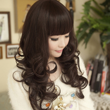 Wig Long Curly Hair Type Fluffy Large Wave Natural Pear Flower Head Long Hair Korean Edition Curly Female Wig Cover