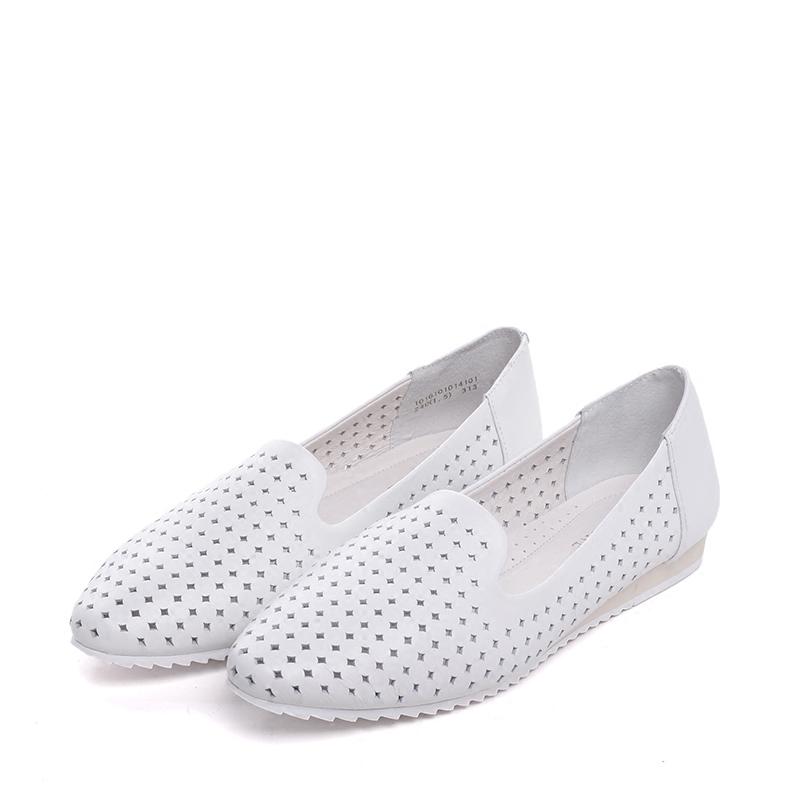 Daphne/达芙妮春夏款单鞋 镂空洞洞透气真皮牛皮休闲舒适女鞋