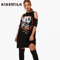 kiss milk大码女装胖mm2017夏装新款时尚简约图案印花连衣裙女