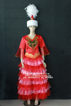 Sunny Yan National Costumes tailor-made Kazakh costumes feature fluffy skirt show red womens Wear