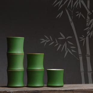 如合 仿竹节竹段陶瓷绿色茶杯釉下筒杯高杯竹叶功夫普洱主人茶杯