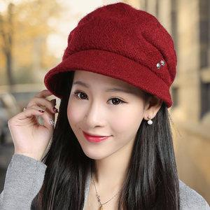 伊格葩莎帽子女韩版潮贝雷帽秋冬季女时尚鸭舌帽保暖中老年渔夫帽