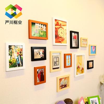 实木质照片墙贴纸客厅地中海欧式相框组合挂墙卧室相片墙创意