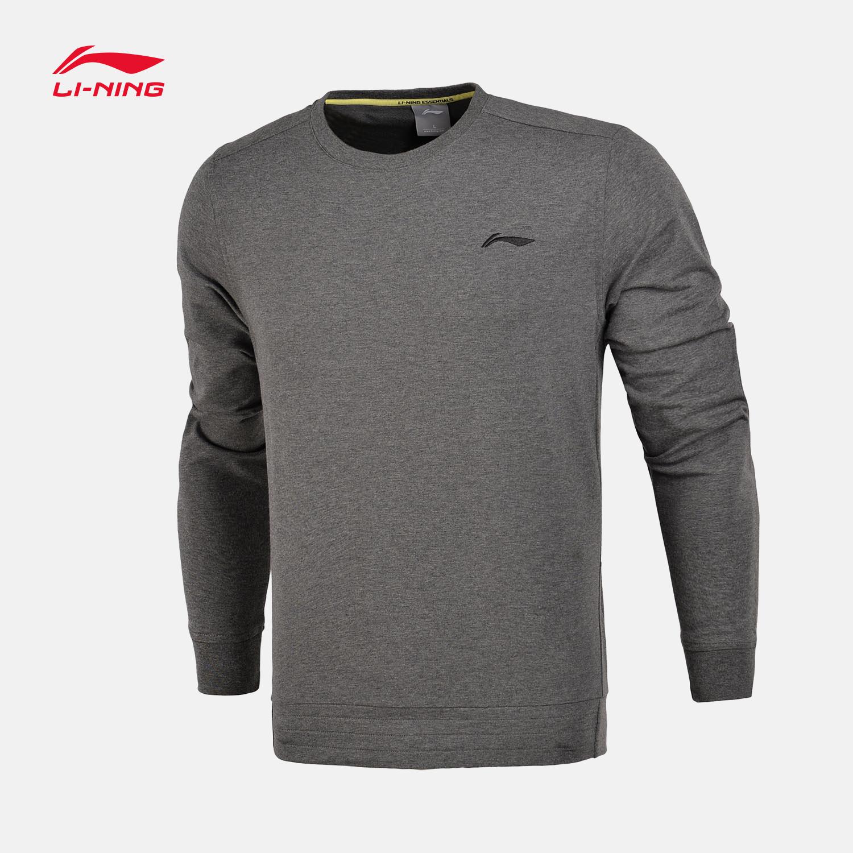 李宁卫衣男士新款训练系列套头衫长袖圆领针织运动服AWDM099