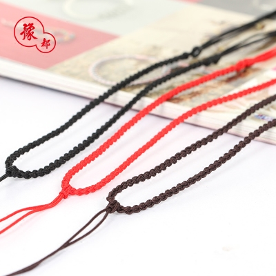 吊坠挂绳手工编织项链绳挂坠玉坠翡翠玉器黄金银简约黑红绳子男女