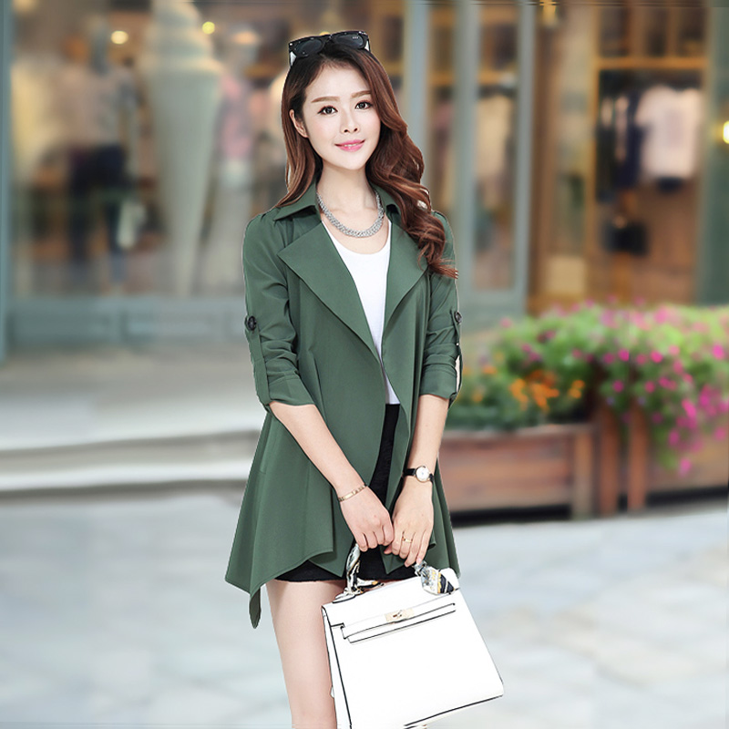 Windbreaker Korean version of the fashion casual jacket Ms. fat mm fat sister in the long section spring and autumn