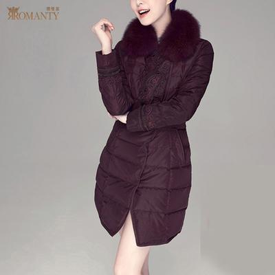 朗曼笛新款狐狸毛领中年女士羽绒服女中长款民族风羽绒衣外套大码
