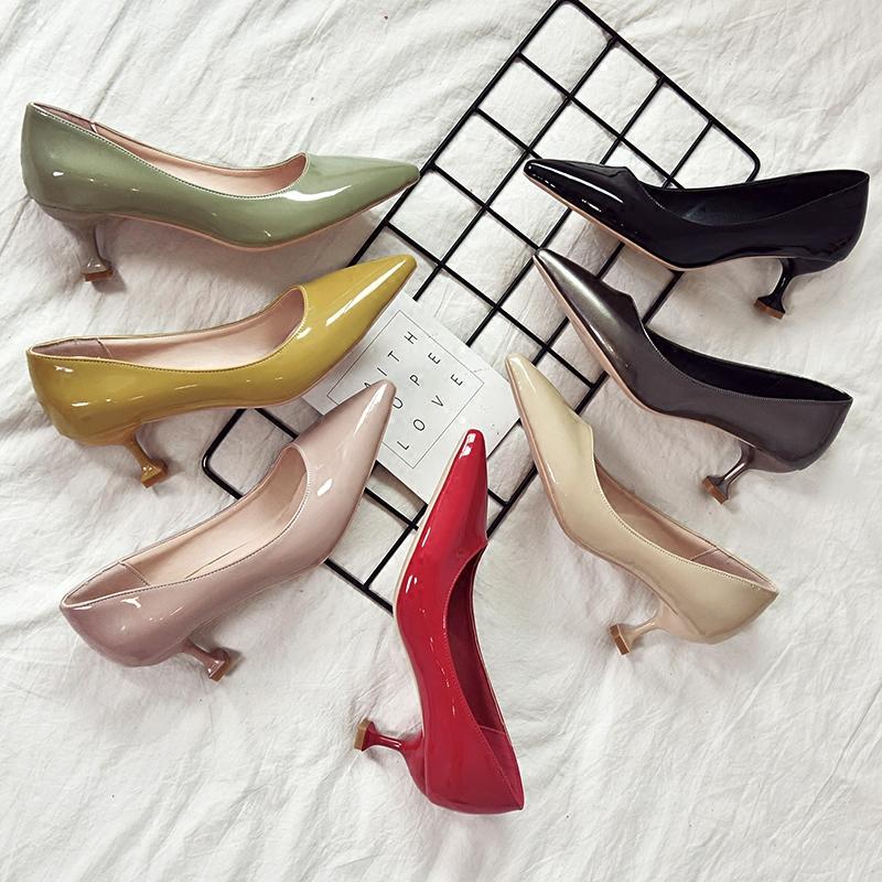 伴娘鞋中跟细跟