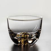 日本手工描金耐热玻璃茶杯平光藏金杯功夫茶具主人杯品茗杯