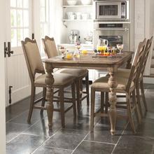 美式新古典实木餐桌橡木餐台饭桌 法式仿古做旧长方形餐桌椅组合
