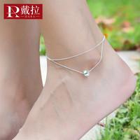 戴拉饰品 s925银简约双层个性韩版脚链女 采用施华洛世奇元素