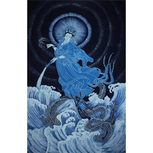 苗族手工蜡染画壁挂蜡染布艺装饰画佛教系列之腾龙观音图90x150cm