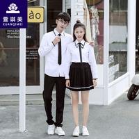 韩版学院风班服男女白衬衫黑边校服女制服水手服表演cos套装