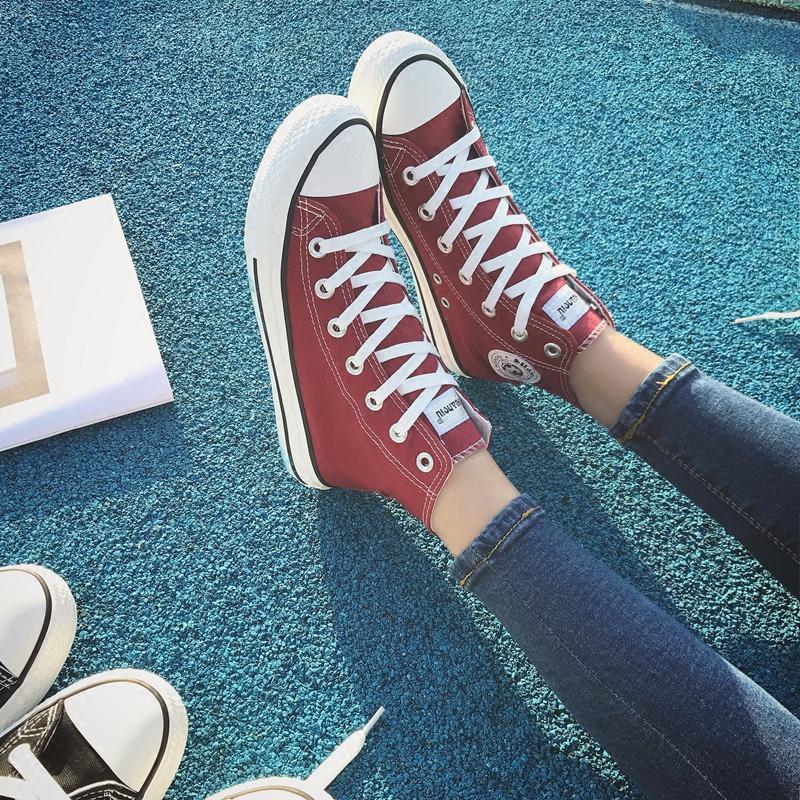 环球春季帆布鞋女韩版高帮平底百搭透气休闲鞋学生板鞋白色布鞋潮