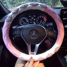 Leather car steering wheel sleeve female pink steering wheel sleeve inlaid drill four seasons universal personality cute cartoon anti-skid
