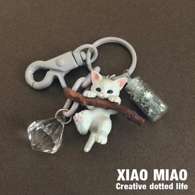 小猫钥匙扣女猫咪公仔韩国可爱创意汽车钥匙链包包挂饰书包挂件