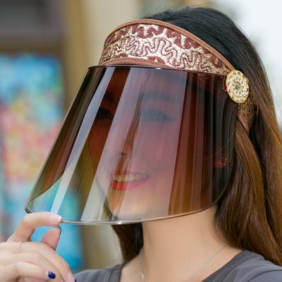 骑电动车遮阳帽太阳帽子女士遮脸防晒韩版夏天骑车镜片大沿帽夏季谁买过的说说