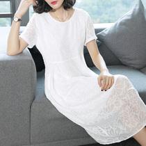 贵夫人大码白色雪纺连衣裙女夏季2019新款女装早秋气质中长款裙子
