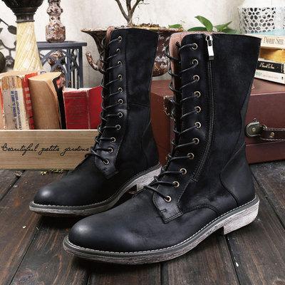 HERILIOS英伦男士真皮靴潮流高筒复古长靴时尚拉链工装靴休闲军靴