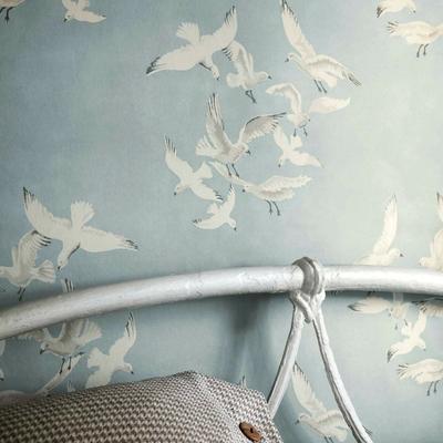 英国原装进口壁纸纯纸北欧地中海美式海鸥灰蓝色客厅卧室背景墙纸
