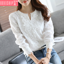 Sweaters Spring and Autumn 2018 New Women's Dresses Long Sleeves, Slim Lace Chiffon Top, Loose Bottom Shirts