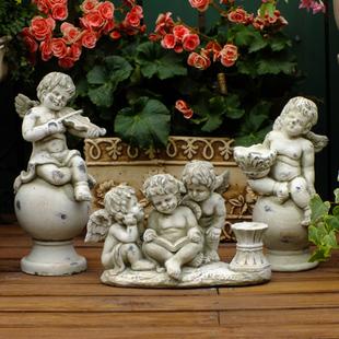 园艺摆件阳台花园摆饰欧式复古做旧可爱天使系列全场促销特价包邮